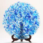 AAES Susanne A Round Blue And Clear Glass Dish