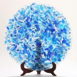 Susanne Aaes - A Round Blue And Clear Glass Dish