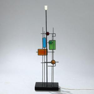 Svend Aage Holm Sorensen - A Tall Table Lamp With Black Lacquered Iron Frame