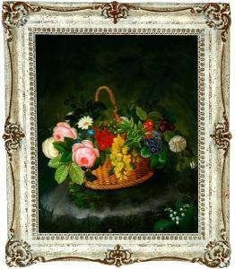 Elisabeth Aagesen - A Basket With Flowers On A Stump