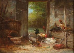G. Angelvy - Roosters Feeding In A Coop