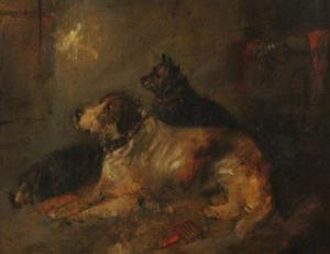 George Armfield - Interior With Three Dogs