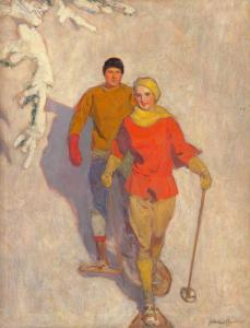 Mcclelland Barclay - Couple Wearing Snowshoes