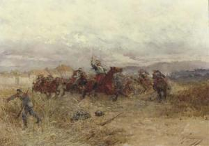 Wilfrid Constant Beauquesne - Battle Scene In France