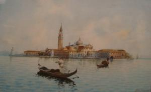 G. H. Biondetti - View Of Venice From The Lagoon With Gondolas Before