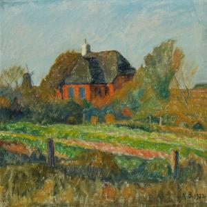 Niels Bjerre - Landscape From Harboøre With Red House And A Mill