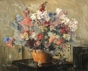 Ludwig Blum - Still Life Of Delphiniums, Lilies, Dahlias, Lupins And Clematis In A Vase