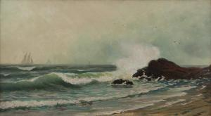 Alfred Thompson Bricher - Coastal With Crashing Waves And Distant Sails