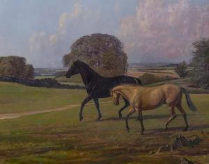 Lionel Brookes - Two Horses In The Welland Valley