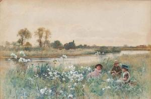 Hector Caffieri - Children Playing In A Meadow Beside A River