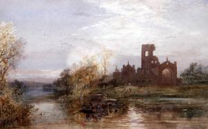 Hubert Coutts - Kirkstall Abbey, With Figures In Punts On The River Before