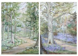 Andrew Edith Alice Cubitt - A Bluebell Wood, And Another Of Primroses In Woodland, A Pair