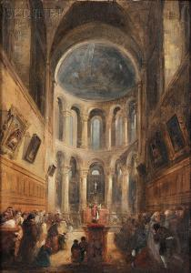 John Scarlett Davis - Interior Of A Church