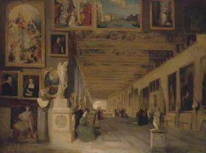 John Scarlett Davis - The Long Gallery Of The Uffizi, Florence