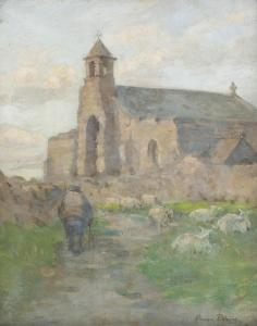 Anna Dixon - Highland Church With Shepherd And Sheep