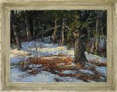 EARLE A.  TITUS  Dappled Sunlight In Snowy Woodland.