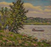 FISHER Hugo Melville Country Lakeside Scene With Mother And Child Strolling