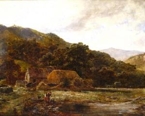 Robert Gallon - A Woman Fetching Water From A River By A Farmstead