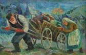 GOLDBERG Chaïm Old Man With White Beard Wearing A Short Brimmed Cap Pulling A Wooden Wagon Laden With His Family's Possessions