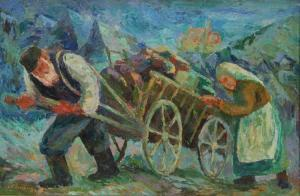 Chaïm Goldberg - Old Man With White Beard Wearing A Short Brimmed Cap Pulling A Wooden Wagon Laden With His Family's Possessions