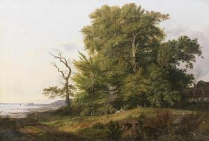 Ludwig H. Theodor Gurlitt - Wooded Landscape With Huntsman And Hounds, A View Of Kronborg Castle Beyond
