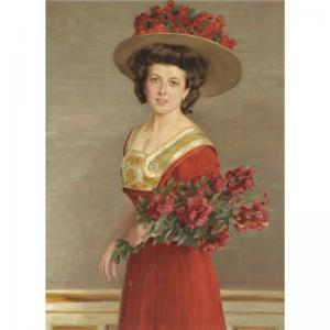 Alfred Hamacher - A Portrait Of An Elegant Young Woman Wearing A Red Dress And A Flower Adorned Hat Holding A Bouquet.