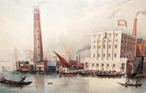George Hunt - Waterloo Bridge, New Lion Brewery And Shot Tower