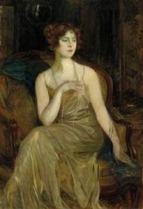 Paul Joanovitch - Portrait Of A Lady Ina Golden Yellow Evening Gown