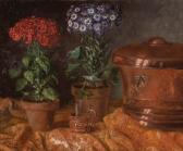 KATHON MATHILDE Still Life With Flowers And Copper Vessels