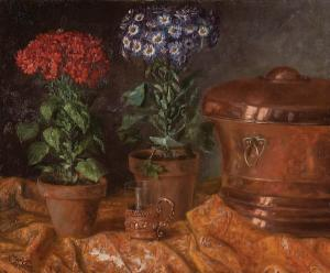 Mathilde Kathon - Still Life With Flowers And Copper Vessels