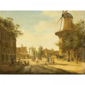Jacob Elias La Fargue - The Hague: A View Of The Westeinde Towards The Loosduinsebrug , With The Heeremolen To The Right
