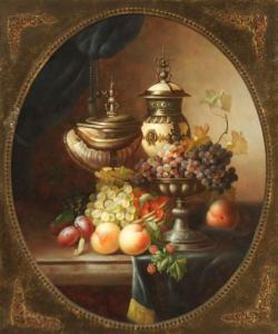 Jean Laurent - Still Life Of Fruit And Vessels On A Ledge