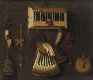 Johannes Leemans - A 'trompe L'oeil' Still Life With A Bird In A Cage