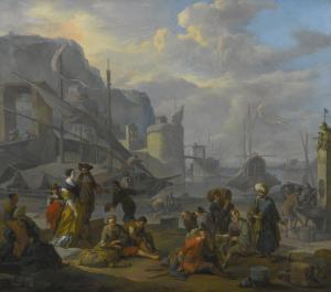 Johannes Lingelbach - A Mediterranean Port With An Elegant Couple, Travelers And Merchants Resting By The Quay