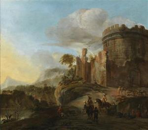 Johannes Lingelbach - An Italianate Landscape With Castle Ruins And Travellers On A Road