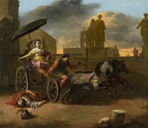 Johannes Lingelbach - Tullia Driving Over The Body Of Her Father Servius Tullius