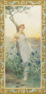 Jean Alfred Marioton - A Maiden Among The Flowers