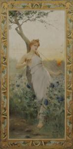 Jean Alfred Marioton - Young Beauty Playing A Double Flute