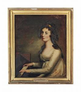 David Martin - Portrait Of Janet Hunter, Half-length, In A White Dress, Seated At A Piano
