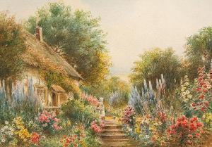 G.K. Mason - Cottage Garden With Figure And Chickens