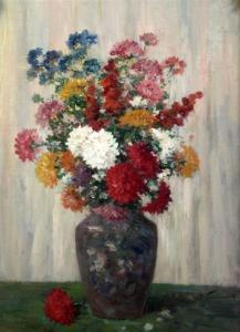 Camille Matisse - Still Life Of Chrysanthemums In A Vase