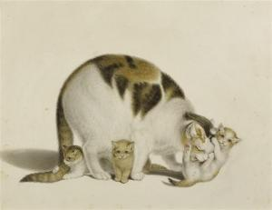 Gottfried Mind - Mother Cat With Three Young