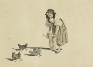 Gottfried Mind - Young Mother Withsmall Child And Three Chickens