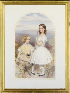 John Callington Moore - Double Portrait Of The Children Of Sir Thomas Gladstone,full-length, With Carpentry Tools