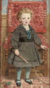 John Callington Moore - Portrait Of Arthur Hill, 6th Marquess Of Downshire (1871-1918), Full-length, With A Hoop And Stick, In Front Of A Jacobean Chair
