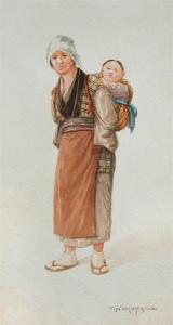 T Nakayama - A Japanese Woman Carrying Her Child