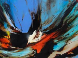 Leonardo Nierman - Abstract Composition With Blues And Reds From Prophecy Series