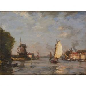 James Campbell Noble - Barges On A Dutch Canal