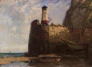 James Campbell Noble - Fishing Boats Moored By A Harbour Wall At Low Tide