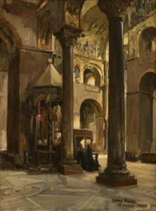 Jules Eugene Pages - Interior Of St. Marco, Venice